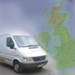 van and UK map